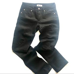 Junk Size 10 Black Distressed Jeans Mid Rise Slim Fit 5 pockets 98% cotton